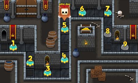 Illustration pour medieval dungeon game level map background - image libre de droit