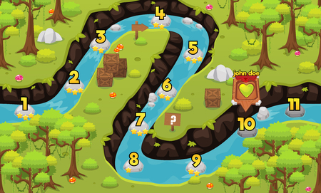 Illustration pour jungle river game level map background - image libre de droit