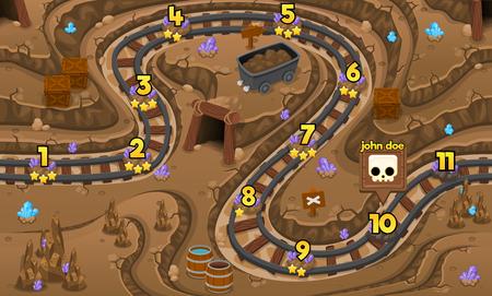 Illustration for underground gold mine rail game level map - Royalty Free Image