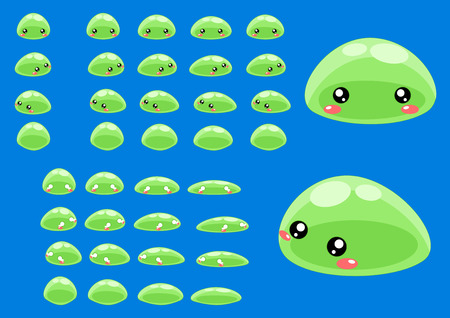 Illustration for top down slime game character sprites - Royalty Free Image