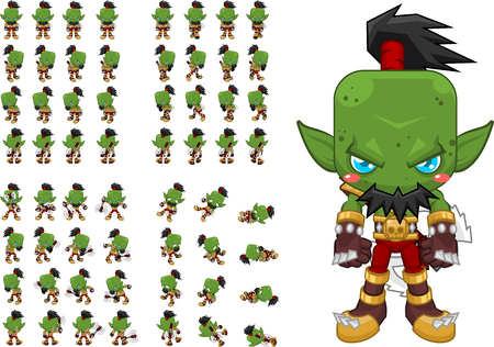 top down orc game character sprites: Royalty-free vector graphics