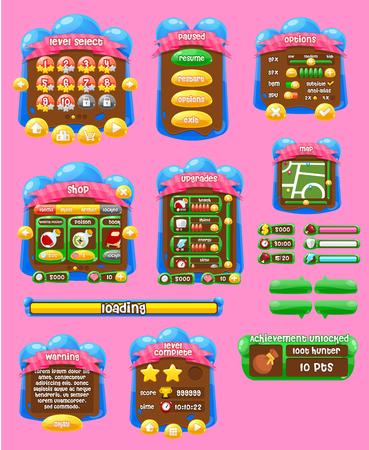 Illustration pour jelly game gui interface pack - image libre de droit