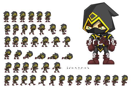 Illustration pour Animated assassin game character - image libre de droit