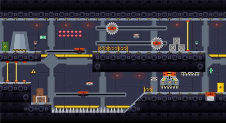 Illustration pour Space Ship Game Tile Set - image libre de droit