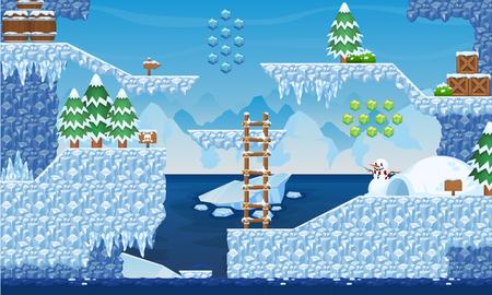 Illustration pour Ice Game Tileset - image libre de droit