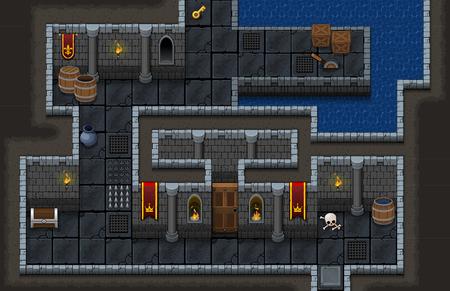 Illustration pour Dungeon Game Level Map - image libre de droit