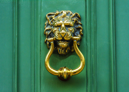 Door with brass knocker in the shape of a lion's head, beautiful entrance to the house, lion decor