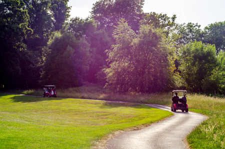 Electric car on the golf course, active leisure, quiet sport, recreation, relax