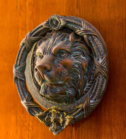 Door with brass knocker in the shape of a lion,  beautiful entrance to the house, vintage decoration