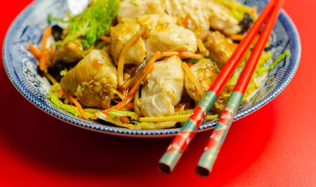 Photo for Cooked chicken breast pieces with savory garlic and ginger soy sauce and  noodles, black fungus mushrooms, savoy cabbage, and carrot, Chinese food - Royalty Free Image