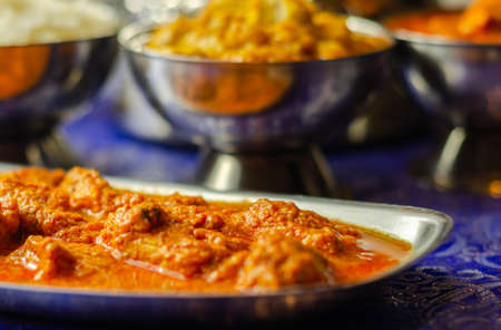 Photo for Mild chicken Korma and chicken Tikka Masala with Basmati rice, Indian food - Royalty Free Image