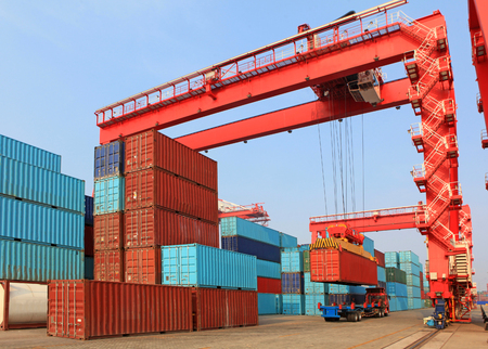 Gantry cranes at a container port