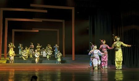 CHENGDU - JUN 17: chinese traditional folk instrumental concert performance on stage at shengge theater.Jun 17, 2011 in Chengdu, China.
