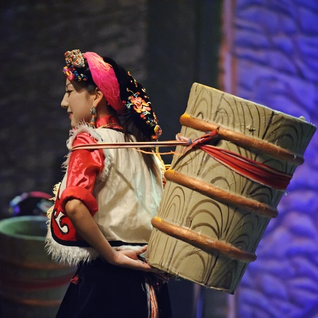 CHENGDU - SEP 27: chinese Tibetan ethnic dancer performs on stage at Sichuan experimental theater.Sep 27,2010 in Chengdu, China.
