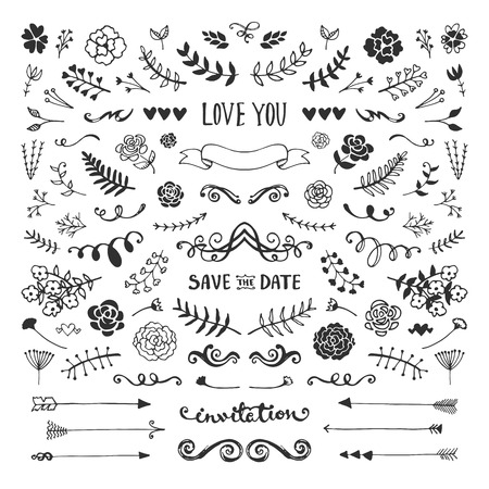 Illustration pour Vintage hand drawn floral elements collection. Vector sketch elements set. Illustration with flowers and leaves, arrows and frames. - image libre de droit