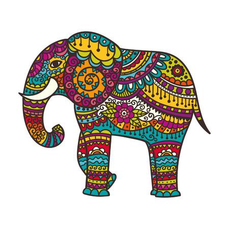 Illustration pour Decorative elephant illustration. Indian theme with ornaments. Vector isolated illustration. - image libre de droit
