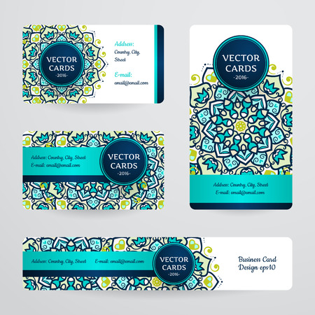 Business cards with mandala. Vector template, tribal theme. Vintage business card collection.のイラスト素材