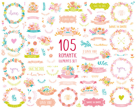Illustration for Wedding vintage elements big collection. Romantic hand drawn floral set with frames, flowers, leaves and ribbons. Romantic vector elements for card. Save the Date and Invitation. - Royalty Free Image