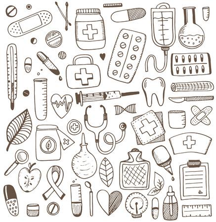 Illustration pour Health care and medicine elements set. Vector sketch illustration. Medicine pattern. - image libre de droit