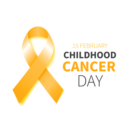 Childhood Cancer Day. Childhood Cancer Awareness yellow ribbon. Vector illustration. Poster with gold ribbon.