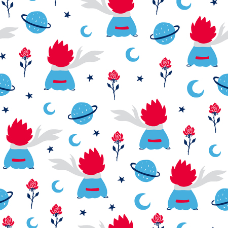 Illustration for Fairytale cute seamless pattern. Color vector background with boy and rose. Illustration. Design for T-shirt, textile and prints. - Royalty Free Image