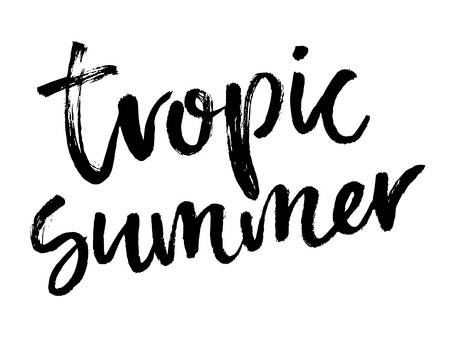 Illustration pour Brush lettering composition. Vector illustration with isolated hand drawn phrase on white background.  Tropic summer. - image libre de droit