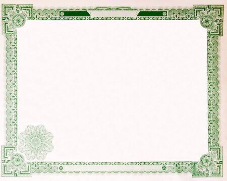 Photo pour Blank U.S. Stock certificate issued in 1914.  Most of the certificate has been removed, so just the boarder remains. - image libre de droit