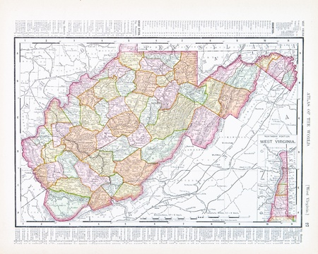 Vintage map of the state of West Virginia, USA, 1900 ...