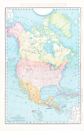 Vintage map of North America including USA, Mexico, and Canada, 1900.  Stitched from 2 images