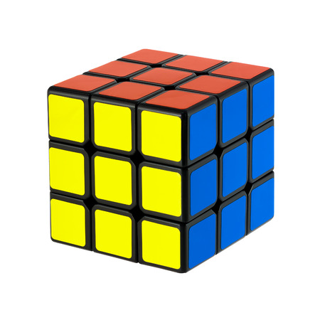 Isolated on white solved six faces classic Rubik