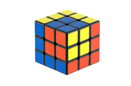 Photo pour Isolated classic Rubik's Cubes, unusual pattern - image libre de droit