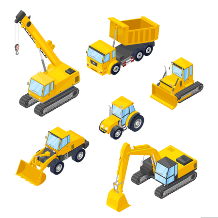 Illustration pour Special machinery isolated icons. Vector 3d style isometric illustrations of excavator, wheel loader, bulldozer, tractor, dumper, crane. - image libre de droit