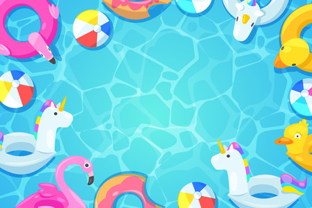 Illustration for Swimming pool frame. Colorful floats in blue water, vector cartoon illustration. Kids inflatable toys flamingo, duck, donut, unicorn. Summer fun background. - Royalty Free Image