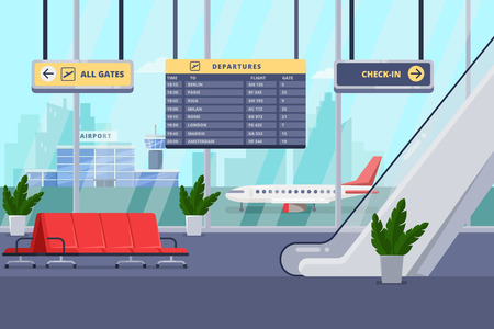 Ilustración de Airport terminal interior,  flat illustration. Empty waiting lounge or departure hall with red chairs, escalator, panoramic window and airplane on background. - Imagen libre de derechos