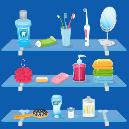 Illustration pour Personal hygiene supplies. Vector cartoon illustration. Bathroom glass shelves with soap, toothbrush, toothpaste and hand towels. Sanitary and care icons and design elements. - image libre de droit