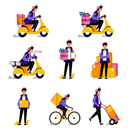 Ilustración de Courier parcels, food or flowers delivery service. Vector flat illustrations. Man with package box on bike and scooter. - Imagen libre de derechos