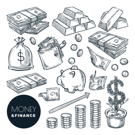 Illustration for Money and finance vector sketch icons. Bank, payment, investment and commerce hand drawn isolated design elements. - Royalty Free Image