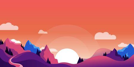 Illustration pour Mountains and hills landscape, horizontal nature background. Vector cartoon illustration of beautiful pink and purple sunset. - image libre de droit