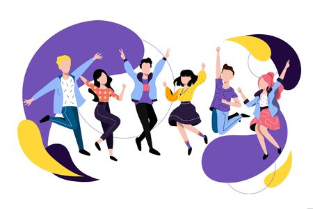 Vektor für Jumping and dancing happy people. Vector flat illustration. Friends have a fun party. Young colorful men and women cartoon characters. - Lizenzfreies Bild