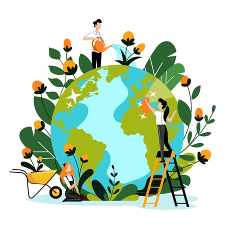 Illustration for Environment, ecology, nature protection concept. Young volunteers take care of Earth planet and environmental nature. Vector flat cartoon illustration. People cleaning, watering and planting flowers. - Royalty Free Image