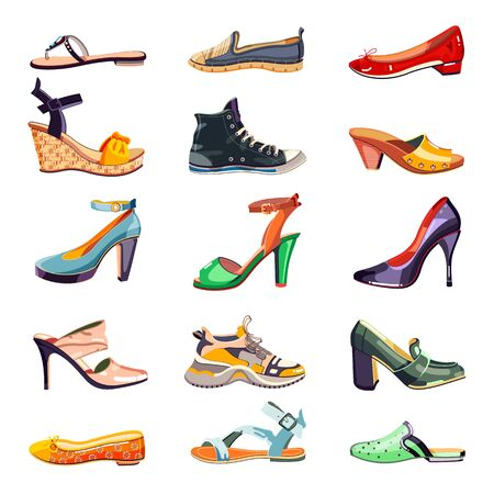 Illustration for Female fashion elegant shoes icons and design elements set. Vector cartoon illustration. Summer, autumn and spring trendy footwear collection, isolated on white background. - Royalty Free Image