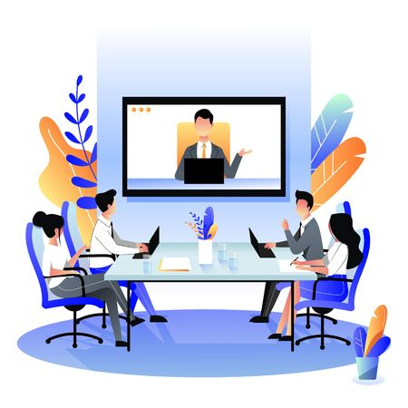 Ilustración de Group of businesspeople at the video conference call in boardroom. Vector flat cartoon illustration. Online meeting with CEO, manager or director. Business consulting concept. - Imagen libre de derechos