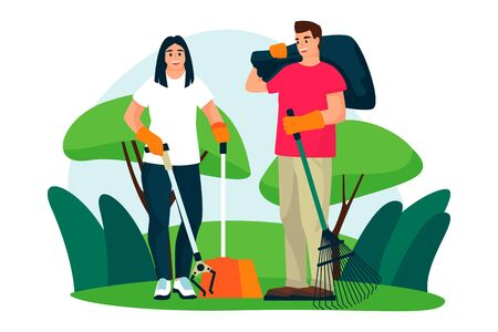 Young couple of volunteers clean up plastic trash on city park lawn. Vector flat cartoon illustration. Ecological people lifestyle. Volunteering, charity social concept.