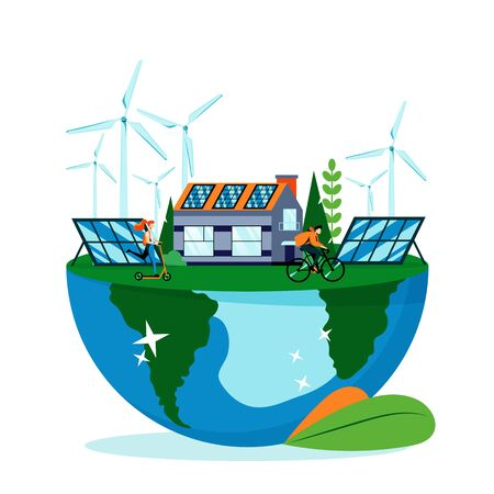 Illustration pour Green landscape on Earth planet surface. Save earth day vector flat illustration, isolated on white background. Saving environment nature. Alternative energy generators, solar panels and eco house - image libre de droit