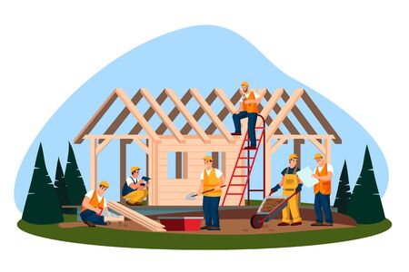 Illustration for Wooden eco house construction process. Vector flat cartoon illustration. Workers and builders building house or cottage in forest. - Royalty Free Image