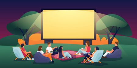 Illustration pour Outdoor evening cinema in summer park. Vector flat cartoon illustration. People watching movie in open-air cinema. Film festival, events and entertainment concept. - image libre de droit