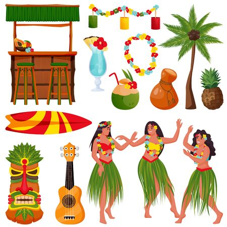 Illustration pour Travel to Hawaii vector icons and design elements set. Traditional hawaiian symbols. Beautiful hawaiian girls dancing hula dance, tiki bar, ukulele guitar, hibiscus, palm isolated on white background - image libre de droit
