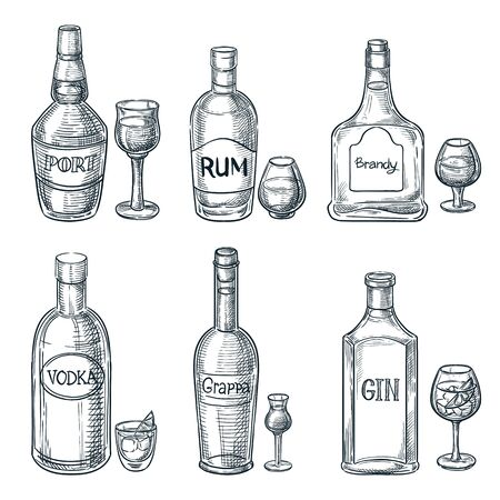 Illustration pour Alcohol drink bottles and glasses. Vector hand drawn sketch isolated illustration. Bar menu design elements. Port, rum and gin vintage outline icons set - image libre de droit