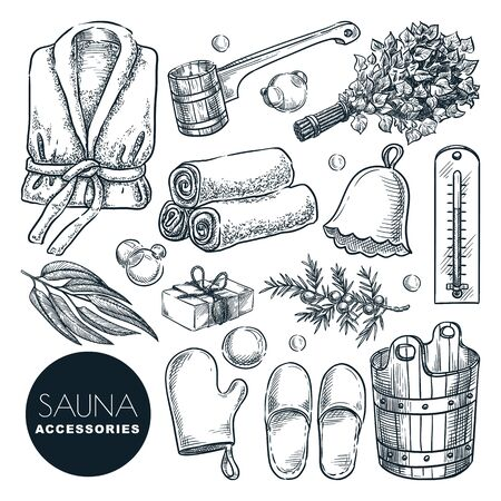 Illustration for Sauna and bathhouse accessories and equipment set. Vector hand drawn sketch illustration. Bath and spa isolated design elements. Wooden bucket, birch broom, ladle and bathrobe doodle icons. - Royalty Free Image