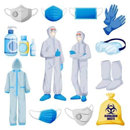 Illustration for Medical personal protective equipment from viral infection, pollution. Vector illustration of protection clothes, isolated on white background. Face mask, respirator, gloves, uniform, sanitizer icons - Royalty Free Image